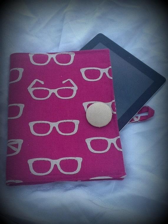 Echino Kokka Fabric Glasses IPad Case Magenta