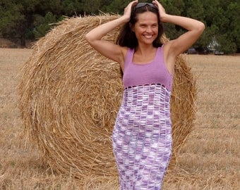 Exclusive handmade knitted  lilac dress