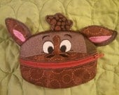 Cute Brown Embroidered Pony Zippered Coin Purse
