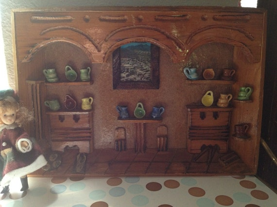 Kitchen Diorama Made Of Cereal Box: Diorama Picture/Shadow Box Miniature Hand Carved Kitchen With