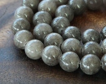 Mountain Jade Beads, Gray, 8mm Round - 15 Inch Strand - eMJR-G23-8