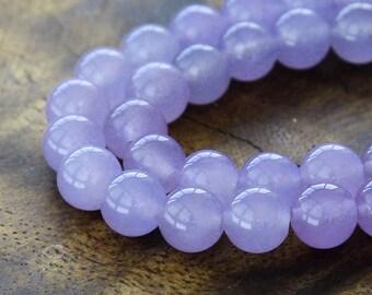 Dyed Jade Beads, Violet, 8mm Round - 15 Inch Strand - eSJR-M20-8