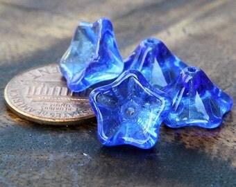Sapphire Czech Glass Beads, 8x13mm Trumpet Flower - 25 pcs - e3005-813