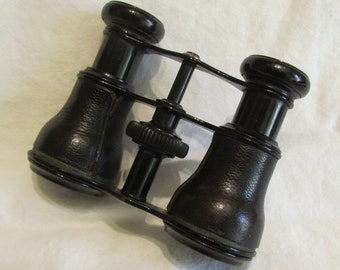 Antique Opera Glasses Colmont FABT Paris  Brass Leather Opera Glasses Field Binoculars 1800s Very Good Condition