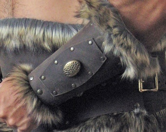 Medieval Celtic Viking Barbarian Bracers with Fur