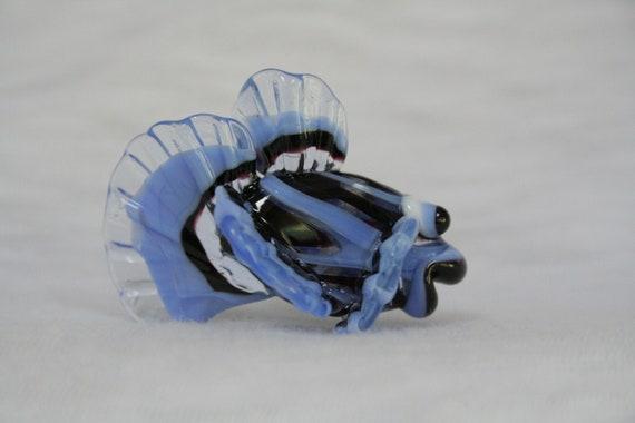 Sweet Handmade Moretti Glass Fish, Glass Sculpture, Art Glass, Lampwork Glass Bead, Black and Blue