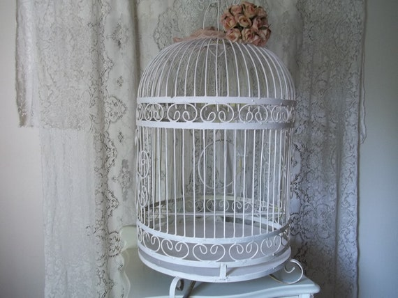 Reserved for Eileen Only Vintage Large  White Shabby Chic Cottage Wedding Card Holder Metal Scrolled Birdcage