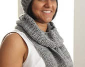 Gwen - Crochet Grey Scarf & Headband