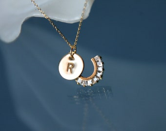 horseshoe necklace, initial necklace, lucky charm necklace, initial horseshoe necklace, gold filled necklace
