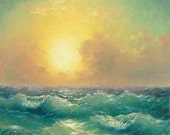 """278 - """"Stormy Sea at Sunset"""", 8""""x 10"""" original gallery giclee print"""