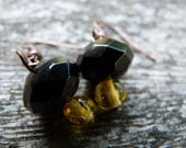 Black Gems with Reclaimed Yellow Glass Earrings