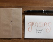"SET: coral ""gracias"" watercolor thank you cards"
