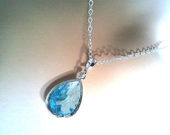 Aquamarine long teardrop Silver Necklace - Sterling silver Chain -bridesmaid gifts, birthday gift, Mom and sister gift,flower girl