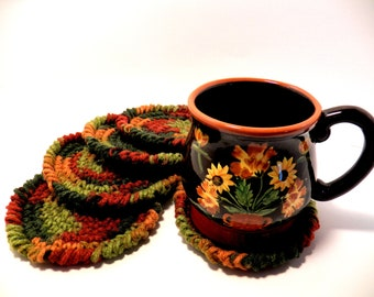 Crochet Coasters set of five-Fall colors-Earth tones