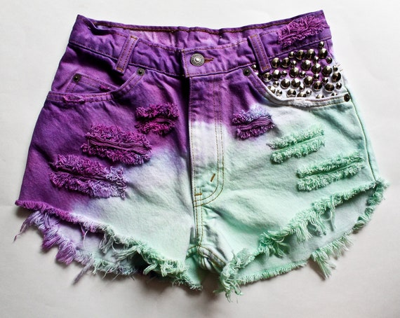 Purple and Mint Ombre High Waisted Denim Shorts by todyefordenim