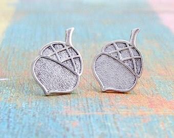 Antique Silver Acorn post earrings