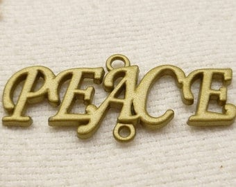Peace Pendant with the words PEACE, Bronze tone (2)  - A77