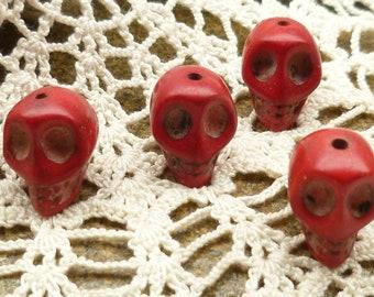 10mm  Red Carved Skull  Howlite Beads (8)