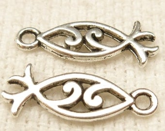 Silver tone Ichthys, Fancy Fish charms - Christian Symbol (10) - S17