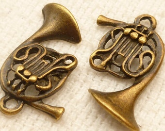Old Style, Whimsical, French Horn Instrument Charm (6)  - A76