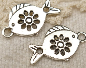 Flower Fish Connector Link Charm Finding, Silver Tone (6) - S93