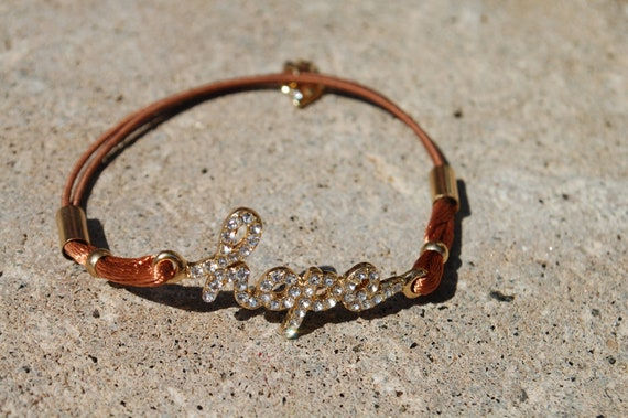 Hope Rhinestone Cord Bracelet
