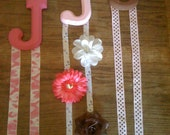 Hair bow holders - first initial J - hair accessory holder for kids hair things