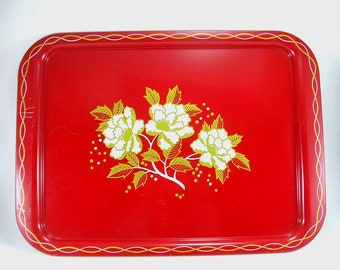 Vintage Red Metal Serving Tray from the 60's -- Red and Gold Flower Pattern -- Vintage, Retro, Cool