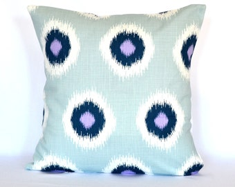 Pillow SALE Ikat Throw Pillow Cover - 18x18 - Premier Prints - Domino blue navy blue purple and White - Designer Pillow Cover