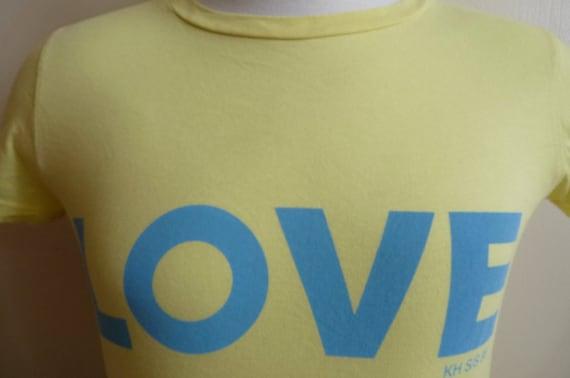 80's Katharine Hamnett blue LOVE print yellow t-shirt, size medium, organic cotton Spring/Summer 88