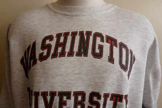vintage 80's/90's Washington University men's/unisex heather grey, geen and red printed college logo university sweatshirt, jantzen made in