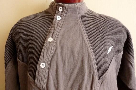 NEW Wave/vintage 80's BENGER (Austria) grey cotton sweater, men's unisex sweater, asymmetrical details, contrast knit panels
