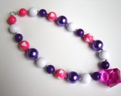 Children's Necklace- Chunky Necklace- Purple and Pink Glam- Doc Mcstuffin