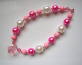 Childrens Pink Necklace- Chunky Necklace for Toddlers to Adults