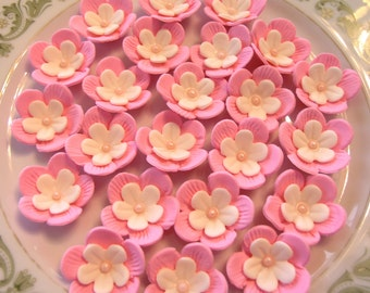 GUM PASTE BLOSSOMS / Two Tone  White on Pink  Medium Size / Cake Topper and Cupcake Flower Decorations