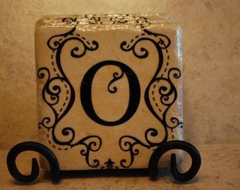 Initial O Custom Made Ceramic Tile Coasters set of 4 or more