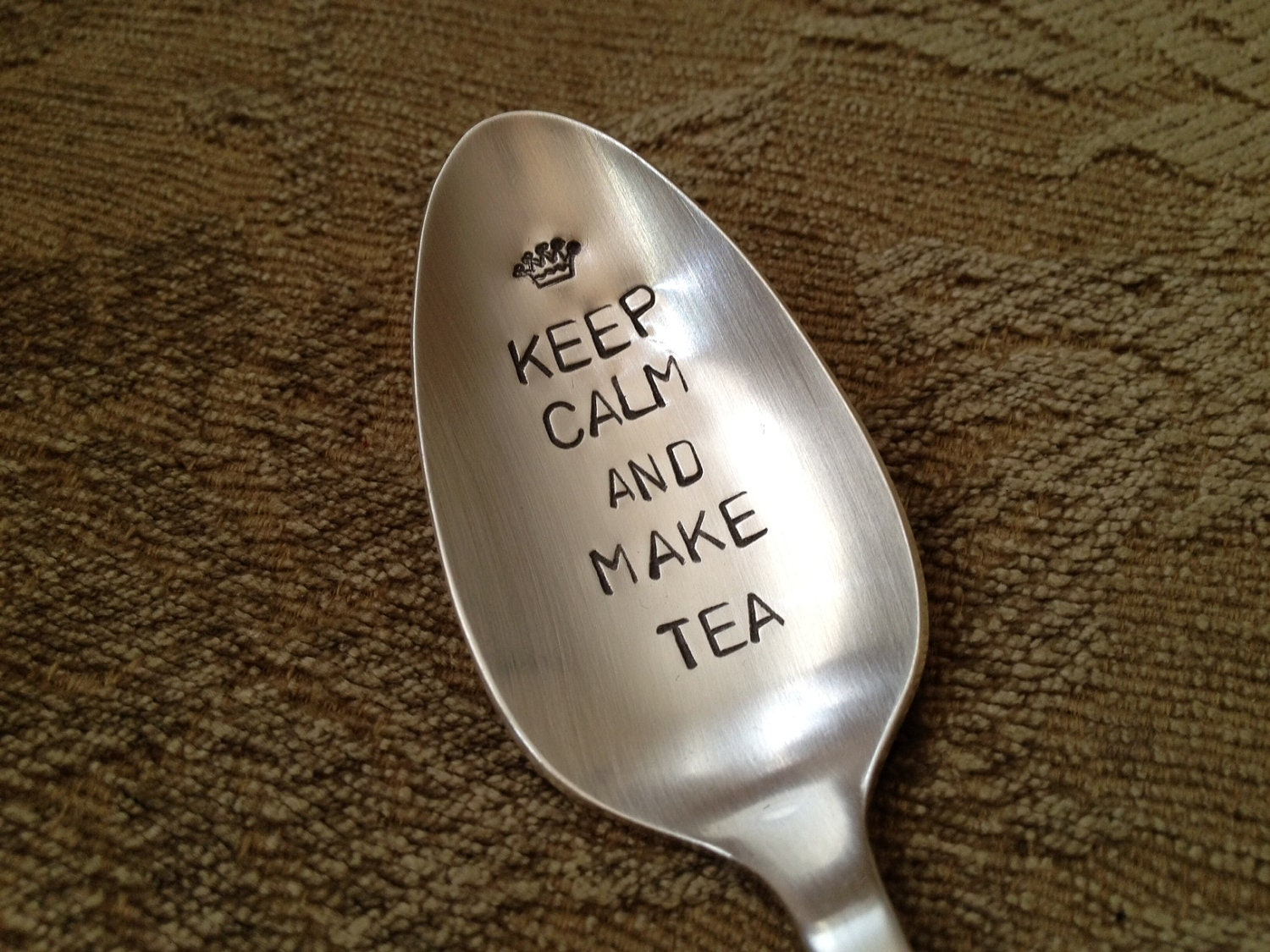 Keep Calm And Make Tea Hand Stamped Vintage Spoon For Tea