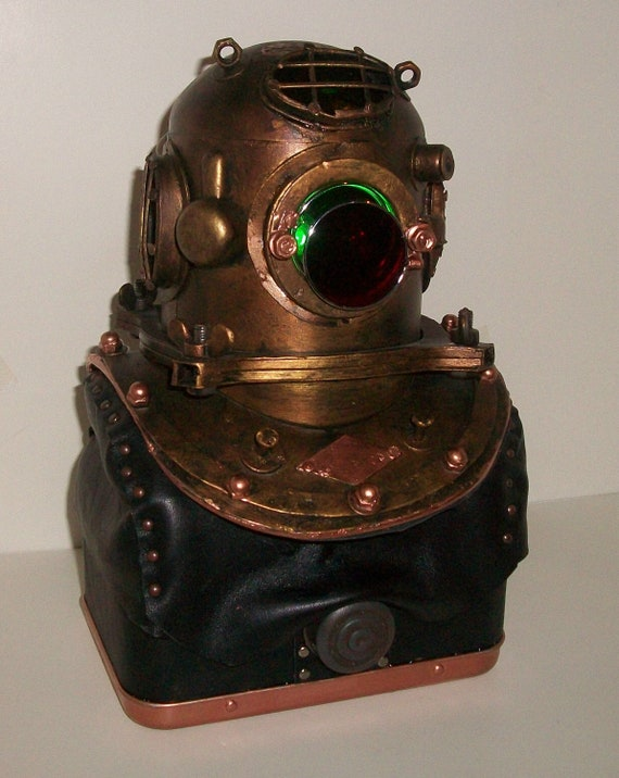 Items Similar To Steampunk Vintage Diving Helmet Lamp On Etsy