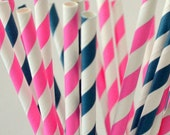Hot Pink and Navy Blue Striped Paper Straws, set of 50