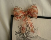 Small Fall Bow - Sheer Autumn Golden Orange Leaf Print - Accessory Size - 7 Inch Width with Trails