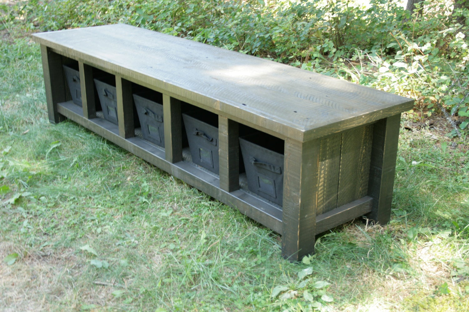 Reclaimed Rustic Black Entry Bench By Echopeakdesign On Etsy