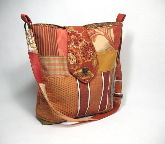 Cross body bag, autumn colors, gold, rust, apricot, adjustable strap