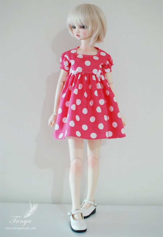 Pink polka dots dress for SD girls