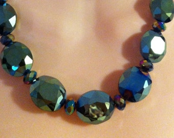"""Blue Green Aurora Borealis Faceted Chunky Bead Necklace approx 20"""""""