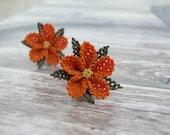 Pumpkin orange earrings floral lace ear posts orange jewelry mini fresh sunflowers bohemian summer ear studs delicate simple ear post