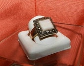 Estate Sterling Silver Pink Lace Agate & Marcasite RING - Vintage Jewelry by Lisa LePaige