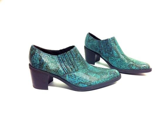 Green Leather Chelsea Ankle Boots 7 - Emerald Snake Skin Winklepicker Moto Booties 7.5