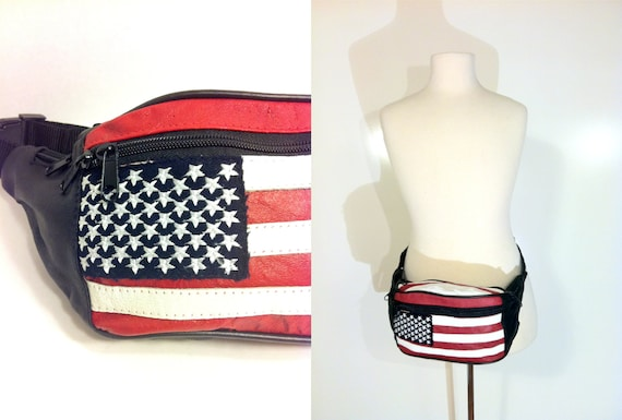 American Flag Leather Fanny Pack - USA Navy Red White Stars and Stripes Hip Pouch
