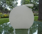 Vintage 1960s Round Ivory Textured Vinyl Train Case with Feet