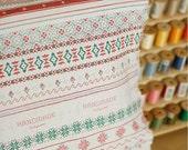 Natural White Cotton Linen Fabric With Bohemia Style Cross Stitch Lace Wood Horse House Stripe Pattern- 1/2 yard